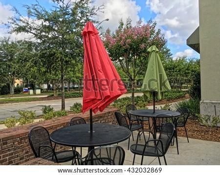 Outside patio Furniture Umbrella - stock photo