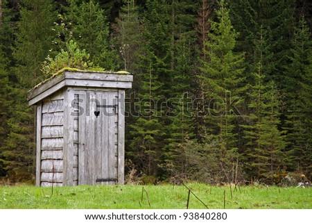 outside restroom - stock photo