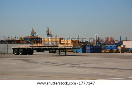 Outside Shipping Area of Airplane Production Factory - stock photo