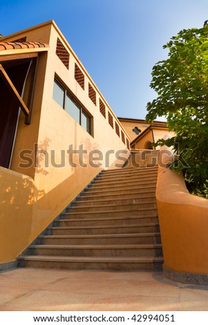 Outside stairs of a new building in China - stock photo