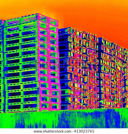 Outside stock of old manufactured wooden euro pallets in thermography scan.