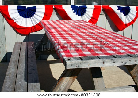 Outside table at Lobster Shack in Maine. - stock photo