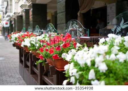 Outside terrace of restaurant with floral lawns. Shallow DOF