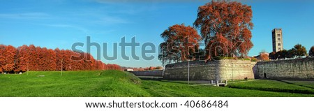 Outside the old wall of the city of Lucca, Italy - stock photo