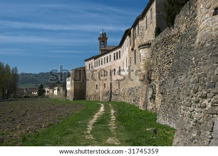 Outside town walls of Bevagna, Italy - stock photo
