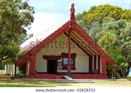 Outside view of a Maori meeting house near the Treaty House - stock photo