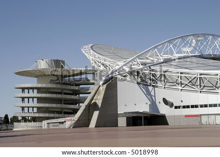 Outside View Of A Modern Sports Stadium, Clear Blue Sky, Sunny Day, Sydney, Australia