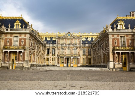 Outside view of Famous palace Versailles. The Palace Versailles was a royal chateau. It was added to the UNESCO list of World Heritage Sites. Paris, France - stock photo