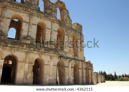 Outside view of the Roman coliseum of Thysdrus at El Jem, Tunisia
