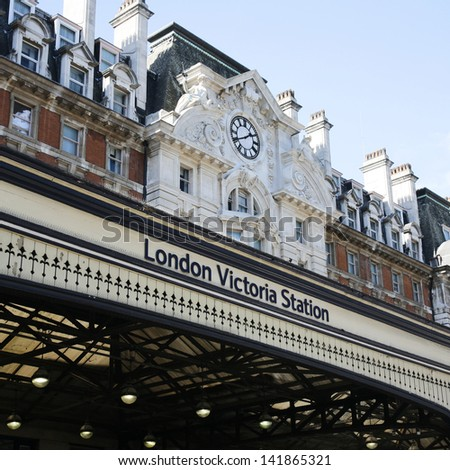 Outside view of Victoria Station, located in Belgravia, since 1860, second busiest railway terminus after Waterloo in the UK.  - stock photo