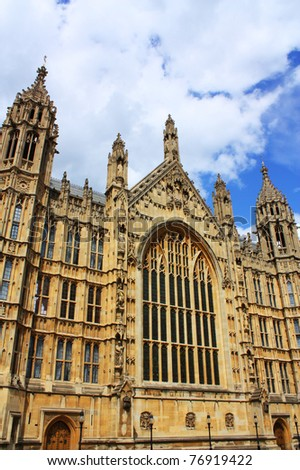 Outside view of Westminister in London, England. It is the famous Houses of Parliament in the capital city London. - stock photo