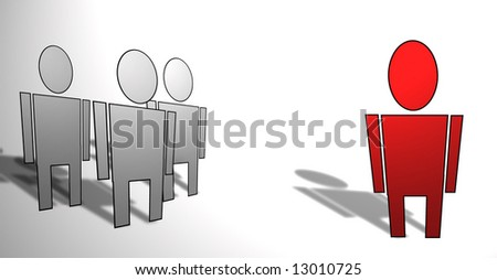 outsider\leader people illustration - stock photo