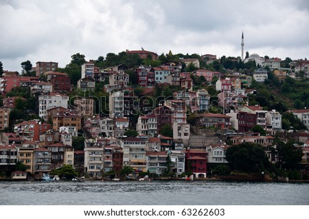Outskirts of Istanbul city at Bosphorus river bank, Turkey - stock photo