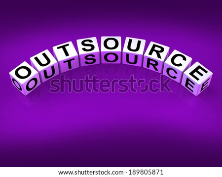 Outsource Blocks Showing Outsourcing and Contracting Employment - stock photo