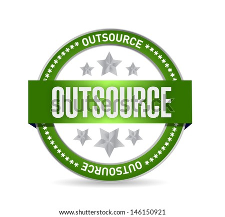 outsource seal stamp illustration design over a white background