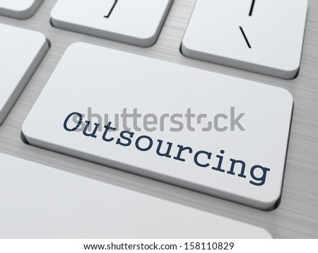Outsourcing. Button on Modern Computer Keyboard. Business Concept. 3D Render.