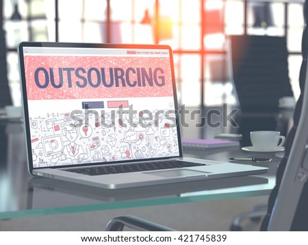 Outsourcing Concept. Closeup Landing Page on Laptop Screen in Doodle Design Style. On Background of Comfortable Working Place in Modern Office. Blurred, Toned Image. 3D Render. - stock photo
