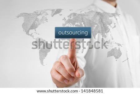 Outsourcing, globalization and global business strategy concept. Source map by NASA.
