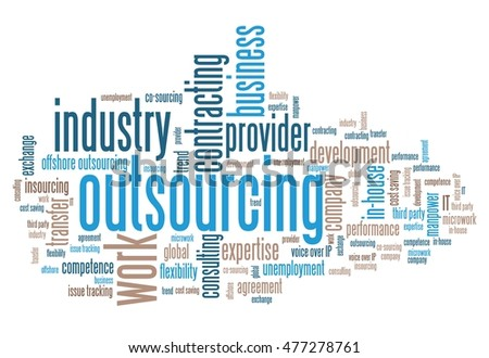 Outsourcing - human resources issues and concepts word cloud illustration. Word collage concept.