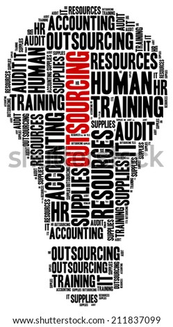 Outsourcing in business. Word cloud illustration concept. - stock photo