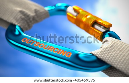 Outsourcing on Blue Carabine with White Ropes. Focus on the Carabine. 3D Render. - stock photo
