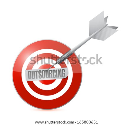 outsourcing on the target illustration design over a white background - stock photo