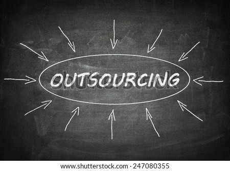 Outsourcing process information concept on black chalkboard. - stock photo