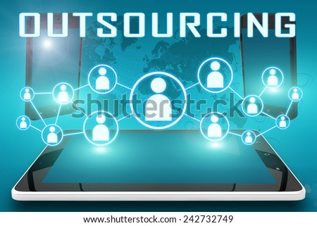 Outsourcing - text illustration with social icons and tablet computer and mobile cellphones on cyan digital world map background - stock photo