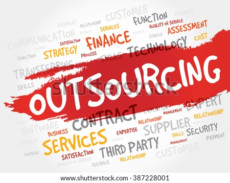 Outsourcing word cloud, business concept - stock photo