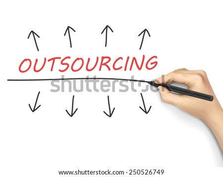 outsourcing word written by hand over white background  - stock photo