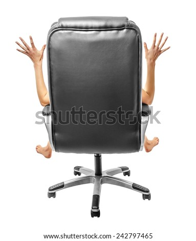Outspread arms and legs sitting on a chair back. Isolated over white. - stock photo