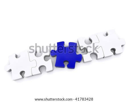 Outstanding blue piece in a line puzzle isolated over a white background