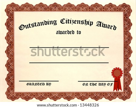 Outstanding Citizenship Certificate - fill in the blanks - stock photo