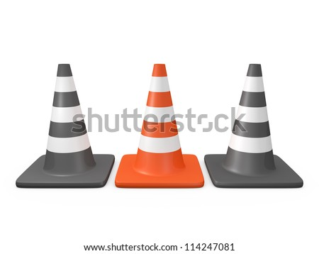 Outstanding concept from the crowd, orange highway traffic cone between two black cones with white stripes, isolated on white.