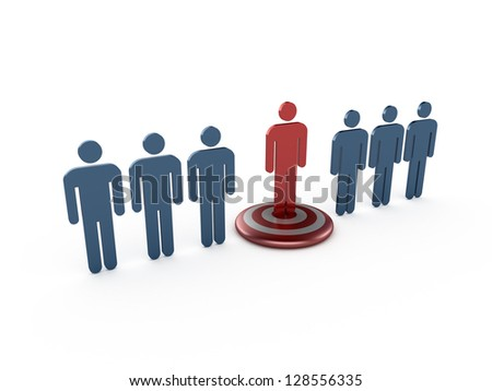 Outstanding concept, red social man on target, isolated on white background.