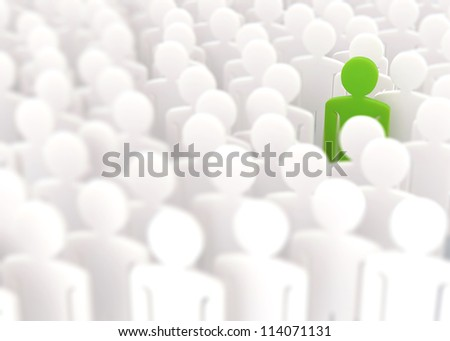 Outstanding from crowd - stock photo