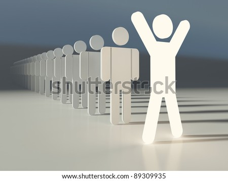 Outstanding leader of a team. Glowing human figure ahead of line. People in a row. Business concept - stock photo