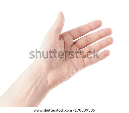 Outstretched hand gestures, isolate on white background - stock photo