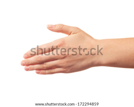Outstretched human hand isolated - stock photo