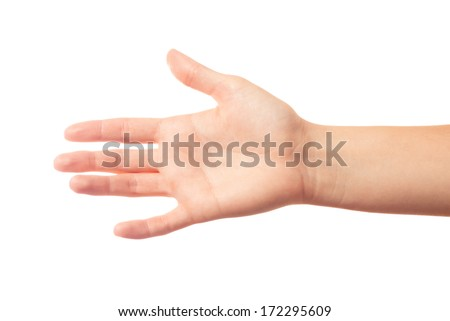 Outstretched human hand on white background - stock photo
