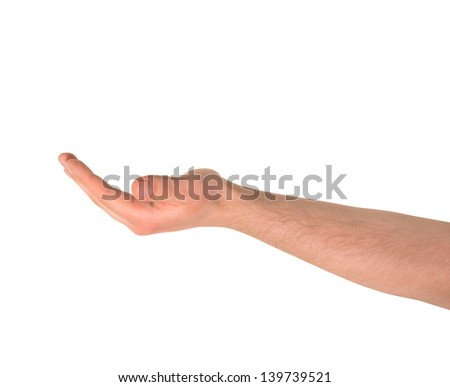 Outstretched open palm caucasian hand gesture isolated over white background - stock photo