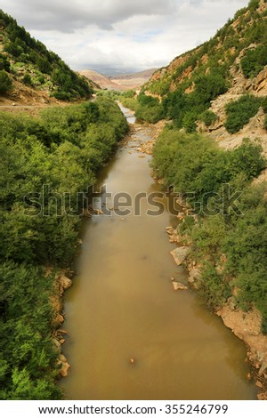 Ouzoud Gorges located in the Grand Atlas, Azilal province in Morocco, Africa - stock photo