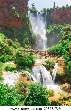 Ouzoud waterfalls, Grand Atlas in Morocco - stock photo
