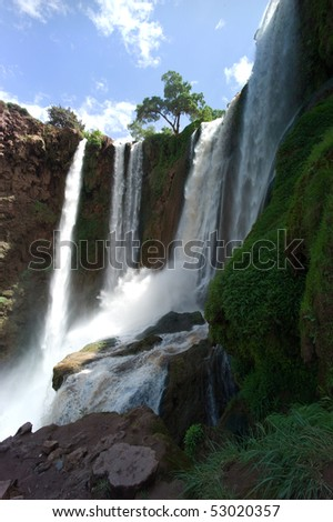 Ouzoud waterfalls in the Grand Atlas mountains in Morocco - stock photo