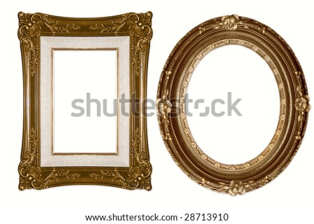 Oval and Rectangular Decorative Golden Frames Isolated on White Background