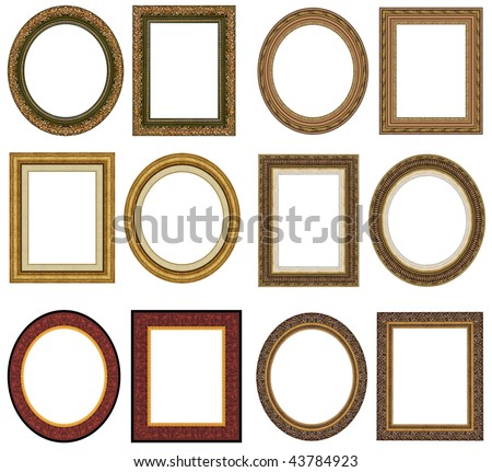 Oval and rectangular gold picture frame with a decorative pattern - stock photo