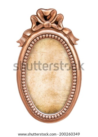Oval antique baroque frame, isolated on white background - stock photo