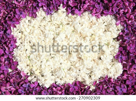 Oval beautiful frame of white and dark lilac flowers - stock photo
