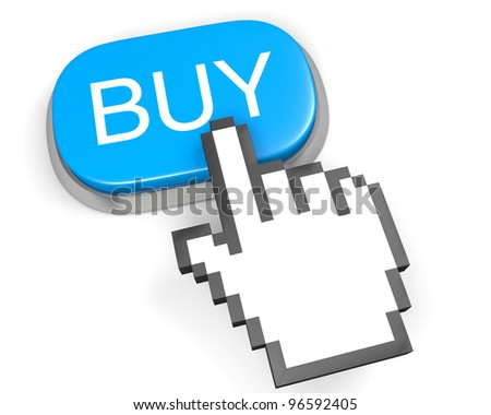 Oval blue button BUY and hand cursor - stock photo
