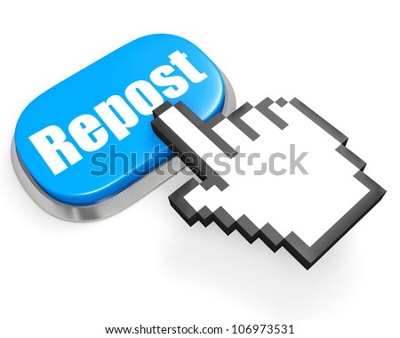 Oval blue button Repost and hand cursor